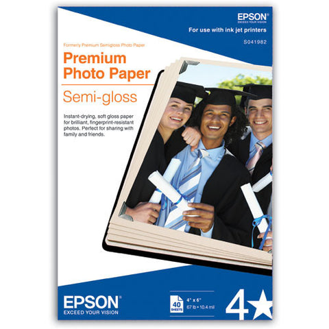 Epson Premium Photo Semigloss Paper 4x6 (40), papers sheet paper, Epson - Pictureline