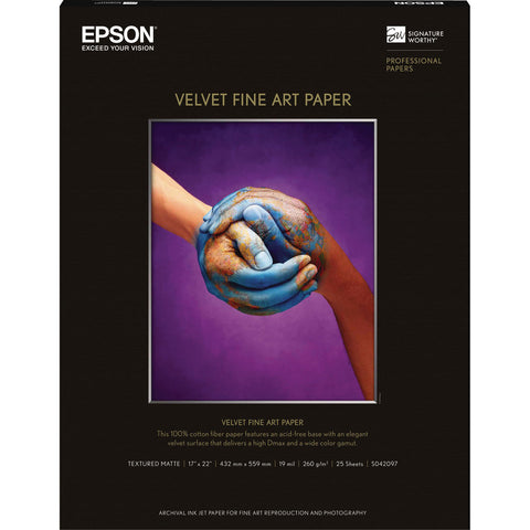 "Epson Velvet Fine Art Paper 17""x22"" (25), papers sheet paper, Epson - Pictureline"