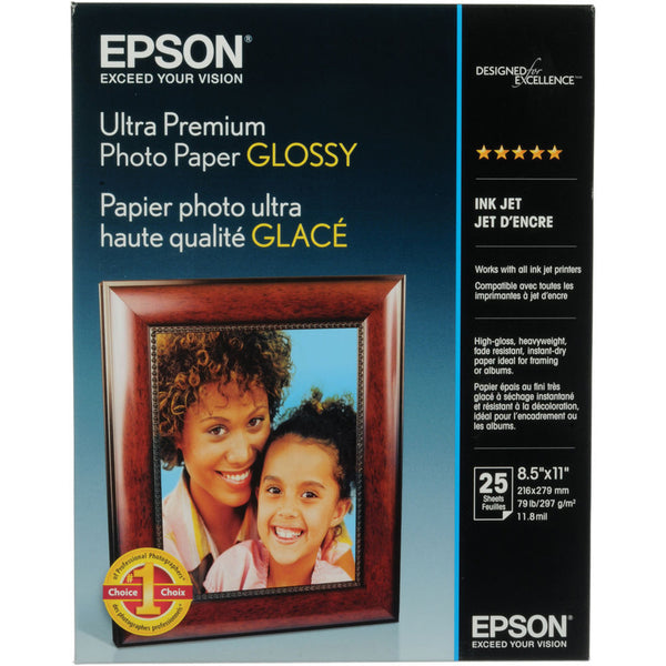 Epson Ultra Premium Photo Paper Glossy 8.5x11 (25), papers sheet paper, Epson - Pictureline