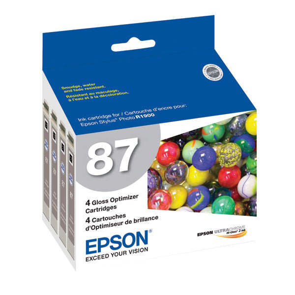 Epson T087020 R1900 Gloss Optimizer (87) (4-pack), printers ink small format, Epson - Pictureline