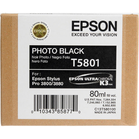 Epson T580100 3800/3880 Ink Ultrachrome Photo Black Ink, papers ink large format, Epson - Pictureline