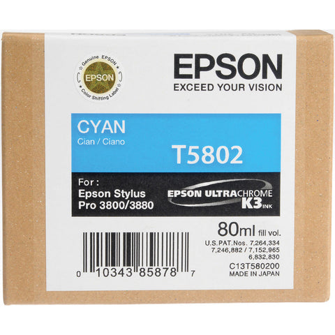Epson T580200 3800/3880 Ink Ultrachrome Cyan Ink, papers ink large format, Epson - Pictureline