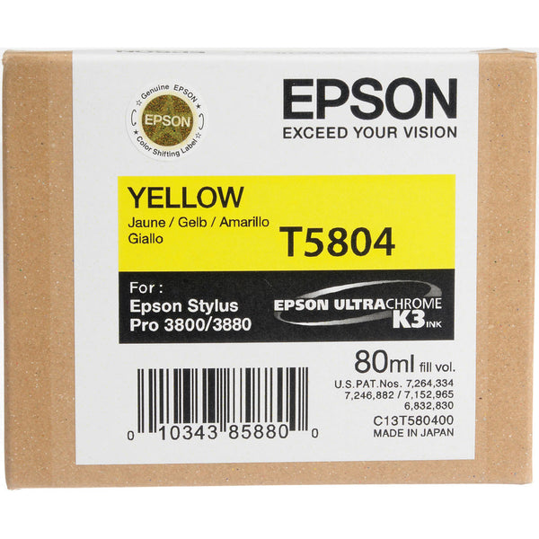 Epson T580400 3800/3880 Ink Ultrachrome Yellow Ink, papers ink large format, Epson - Pictureline