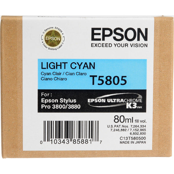 Epson T580500 3800/3880 Ink Ultrachrome Light Cyan Ink, papers ink large format, Epson - Pictureline