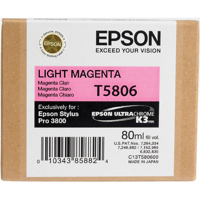 Epson T580600 3800 Ink Ultrachrome Light Magenta Ink, papers ink large format, Epson - Pictureline