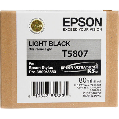 Epson T580700 3800/3880 Ink Ultrachrome Light Black Ink, papers ink large format, Epson - Pictureline
