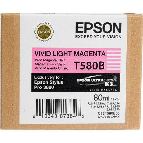 Epson T580B00 3880 Ink Ultrachrome Vivid Light Magenta Ink, papers ink large format, Epson - Pictureline