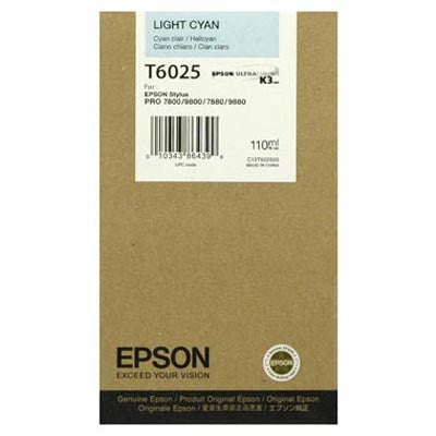 Epson T602500 7800/7880/9800/9880 Light Cyan Ink 110ml, papers ink large format, Epson - Pictureline