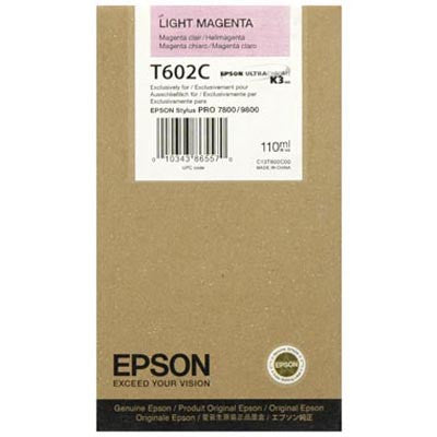 Epson T602C00 7800/9800 Light Magenta Ink 110ml, papers ink large format, Epson - Pictureline