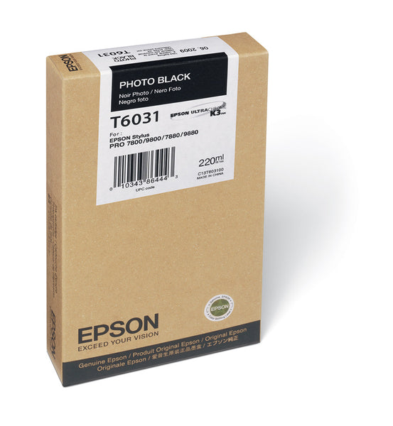 Epson T603100 7800/7880/9800/9880 Photo Black Ink 220ml, papers ink large format, Epson - Pictureline