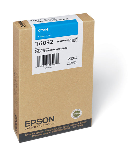 Epson T603200 7800/7880/9800/9880 Cyan Ink 220ml, papers ink large format, Epson - Pictureline