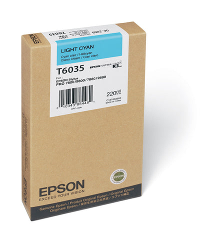 Epson T603500 7800/7880/9800/9880 Light Cyan Ink 220ml, papers ink large format, Epson - Pictureline