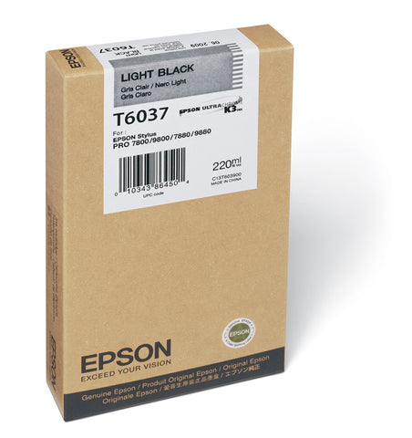 Epson T603700 7800/7880/9800/9880 Light Black Ink 220ml, papers ink large format, Epson - Pictureline