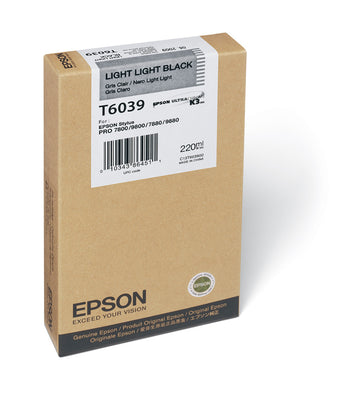Epson T603900 7800/7880/9800/9880 Light Light Black Ink 220ml, papers ink large format, Epson - Pictureline