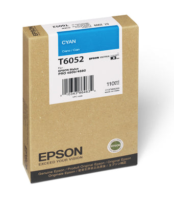 Epson T605200 4880/4800 Ultrachrome HDR Ink Cyan 110ml, papers ink large format, Epson - Pictureline