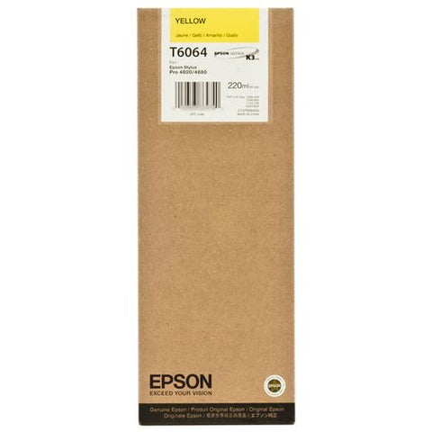 Epson T606400 4880/4800 Ultrachrome HDR Ink Yellow 220ml, papers ink large format, Epson - Pictureline