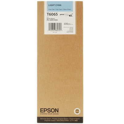 Epson T606500 4880/4800 Ultrachrome HDR Ink Light Cyan 220ml, papers ink large format, Epson - Pictureline
