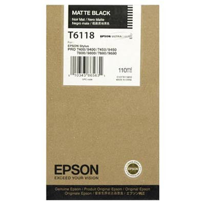 Epson T611800 7800/7880/9800/9880 Matte Black Ink 110ml, papers ink large format, Epson - Pictureline