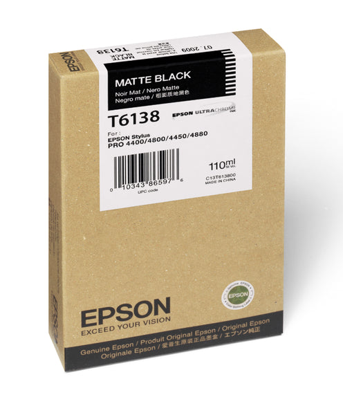 Epson T613800 4880/4800 Ink Matte Black 110ml, papers ink large format, Epson - Pictureline