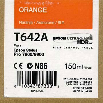 Epson T642A00 7900/9900 Ultrachrome HDR Ink 150ml Orange, papers ink large format, Epson - Pictureline  - 1