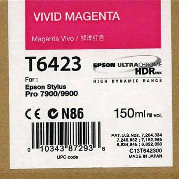 Epson T642300 7900/7890/9890/9900 Ultrachrome HDR Ink 150ml Vivid Magenta, papers ink large format, Epson - Pictureline  - 1