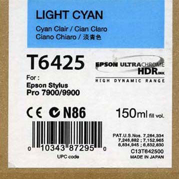 Epson T642500 7900/7890/9890/9900 Ultrachrome HDR Ink 150ml Light Cyan, papers ink large format, Epson - Pictureline  - 1