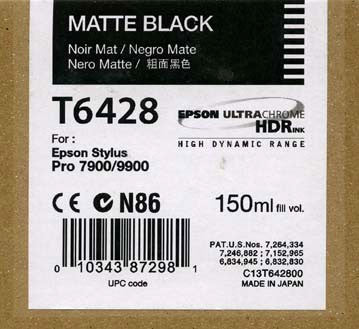 Epson T642800 7900/7890/9890/9900 Ultrachrome HDR Ink 150ml Matte Black, papers ink large format, Epson - Pictureline  - 1