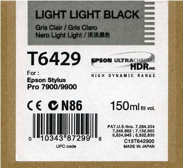 Epson T642900 7900/7890/9890/9900 Ultrachrome HDR Ink 150ml Light Light Black, papers ink large format, Epson - Pictureline  - 1