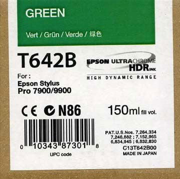 Epson T642B00 7900/9900 Ultrachrome HDR Ink 150ml Green, papers ink large format, Epson - Pictureline  - 1