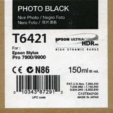 Epson T642100 7900/7890/9890/9900 Ultrachrome HDR Ink 150ml Photo Black, papers ink large format, Epson - Pictureline  - 1