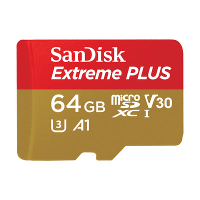 SanDisk Extreme Plus 64GB UHS-I microSDXC Memory Card with SD Adapter
