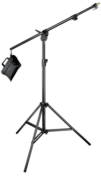 Manfrotto 420B Black Combi-Boom Stand w/Sandbag, supports regular stands, Manfrotto - Pictureline