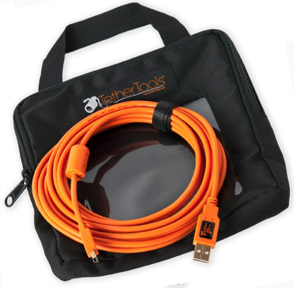 Tether Tools Starter Tethering Kit w/ USB 2.0 Mini-B 5 Pin Cable 15' ORG, camera tethering, Tether Tools - Pictureline  - 1