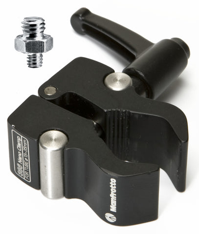 "Manfrotto 386B Nano Clamp + 1/4"" - 3/8"" Adapter, tripods parts & accessories, Manfrotto - Pictureline"