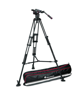 Manfrotto MVKN8TWINMUS Video Kit with Nitrotech N8 Head & 546B Twin Leg with Mid-Level Spreader Tripod