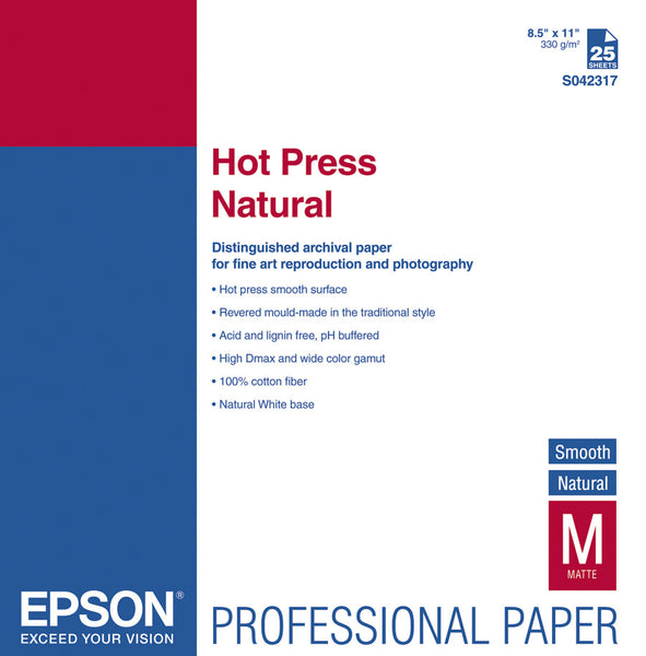 Epson Hot Press Natural Smooth Paper 8.5x11 (25), papers sheet paper, Epson - Pictureline