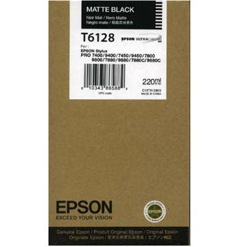 Epson T612800 7800/7880/9800/9880 Matte Black Ink 220ml, papers ink large format, Epson - Pictureline