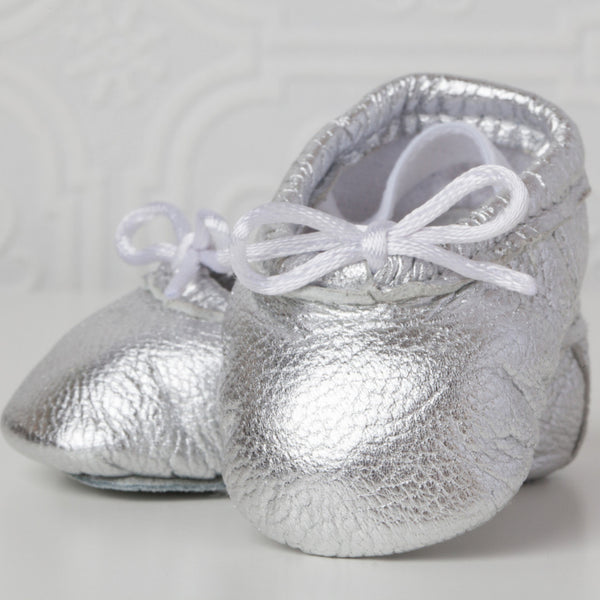 Newborn Baby Ballet Slippers - Metallic Silver leather shoes
