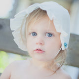 Vintage Baby Bonnet - Ivory with Ombre Blue Flower