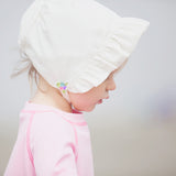 Vintage Baby Bonnet - Ivory with Multi Flower Detail