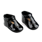 Baby Mary Jane T-Strap Teardrop Shoes - Black Patent Leather