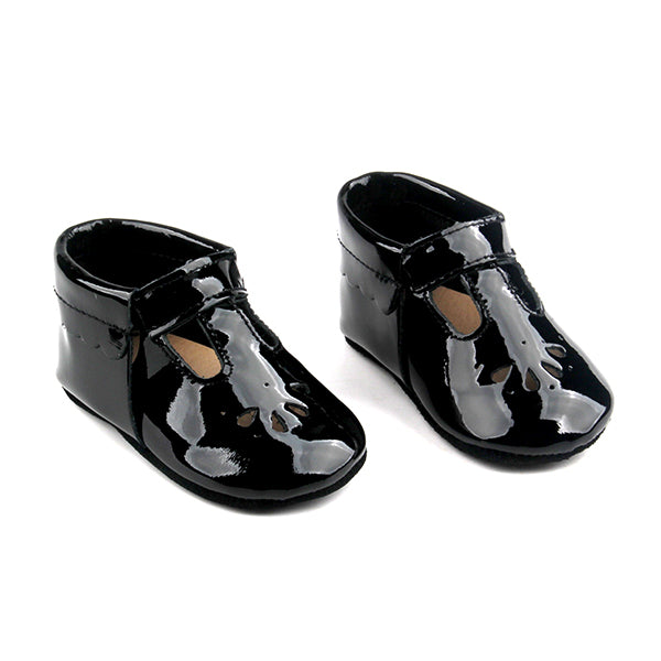 Baby Mary Jane T Strap Teardrop Shoes Black Patent Leather Mille