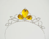 Princess Belle Tiara - Yellow Beauty and the Beast Inspired Princess Crown Red Rose Crystal Rhinestone