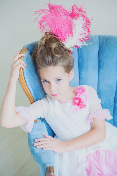 Madame Royale Vintage style Flower Girl Dress - Ivory and Pink