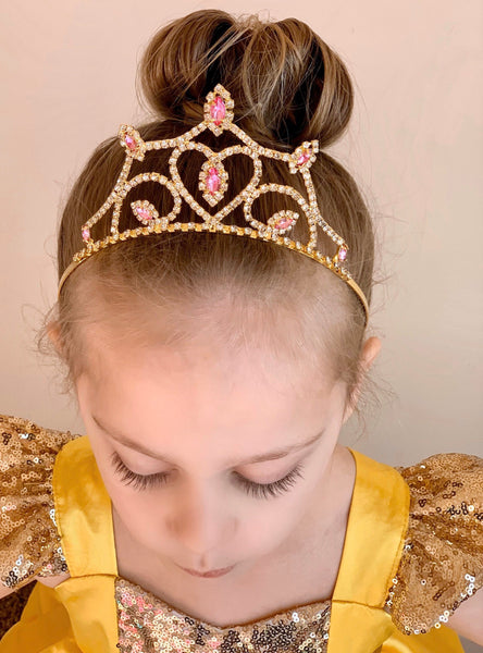 Princess Belle Tiara - Beauty and the Beast Inspired Princess Crown Yellow Red Rose Crystal Rhinestone