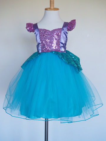 Girls Ariel Dress - Sequin Princess the Little Mermaid Costume