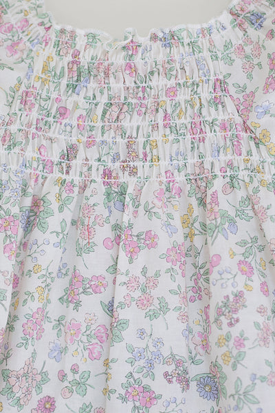 Vintage Style Smocked Floral Lawn Dress - Multi-colored Flower