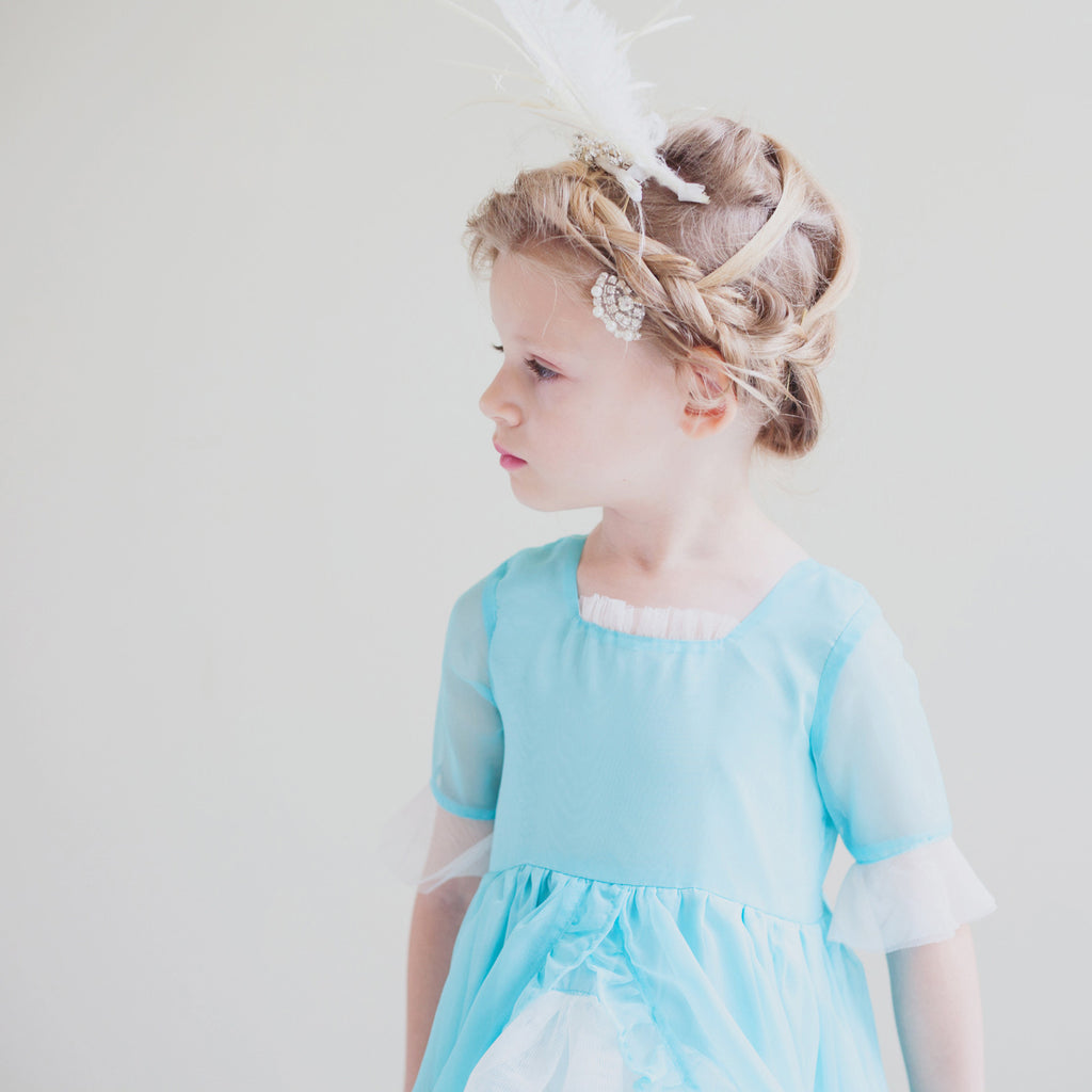 Madame Royale Vintage Style Flower Girl Dress Tiffany Blue Mille