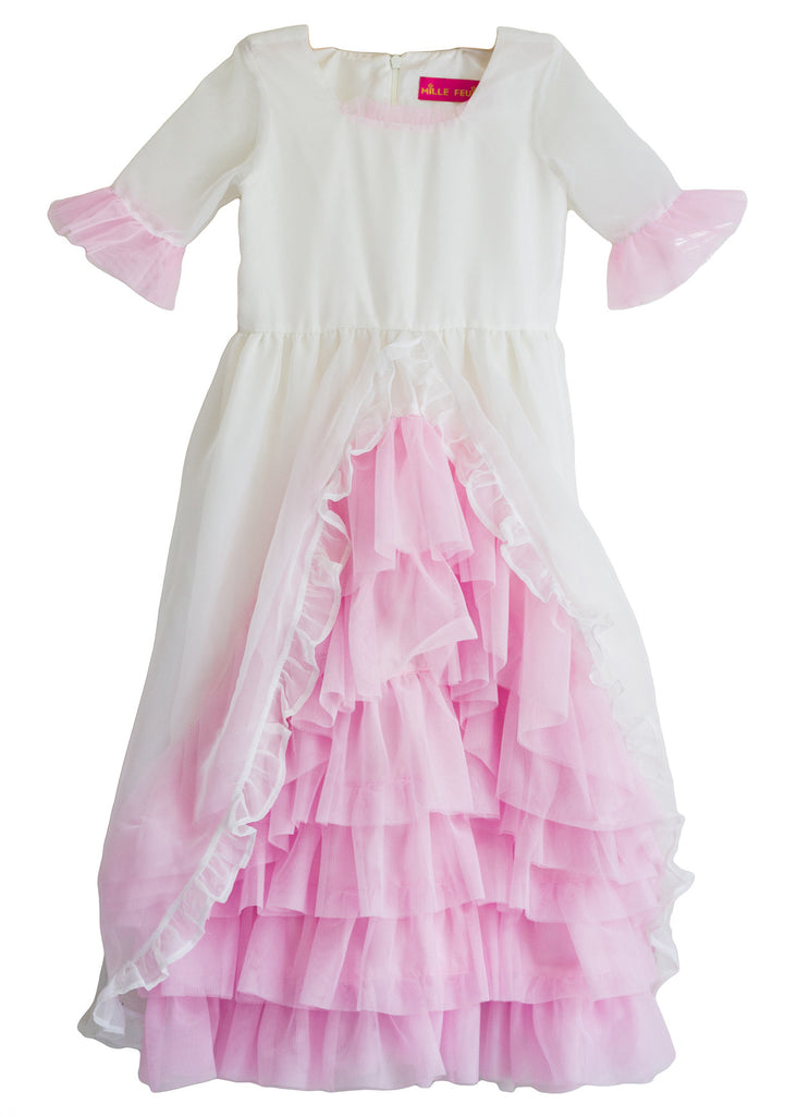 Vintage Ruffled Ivory Flower Girl Dresses