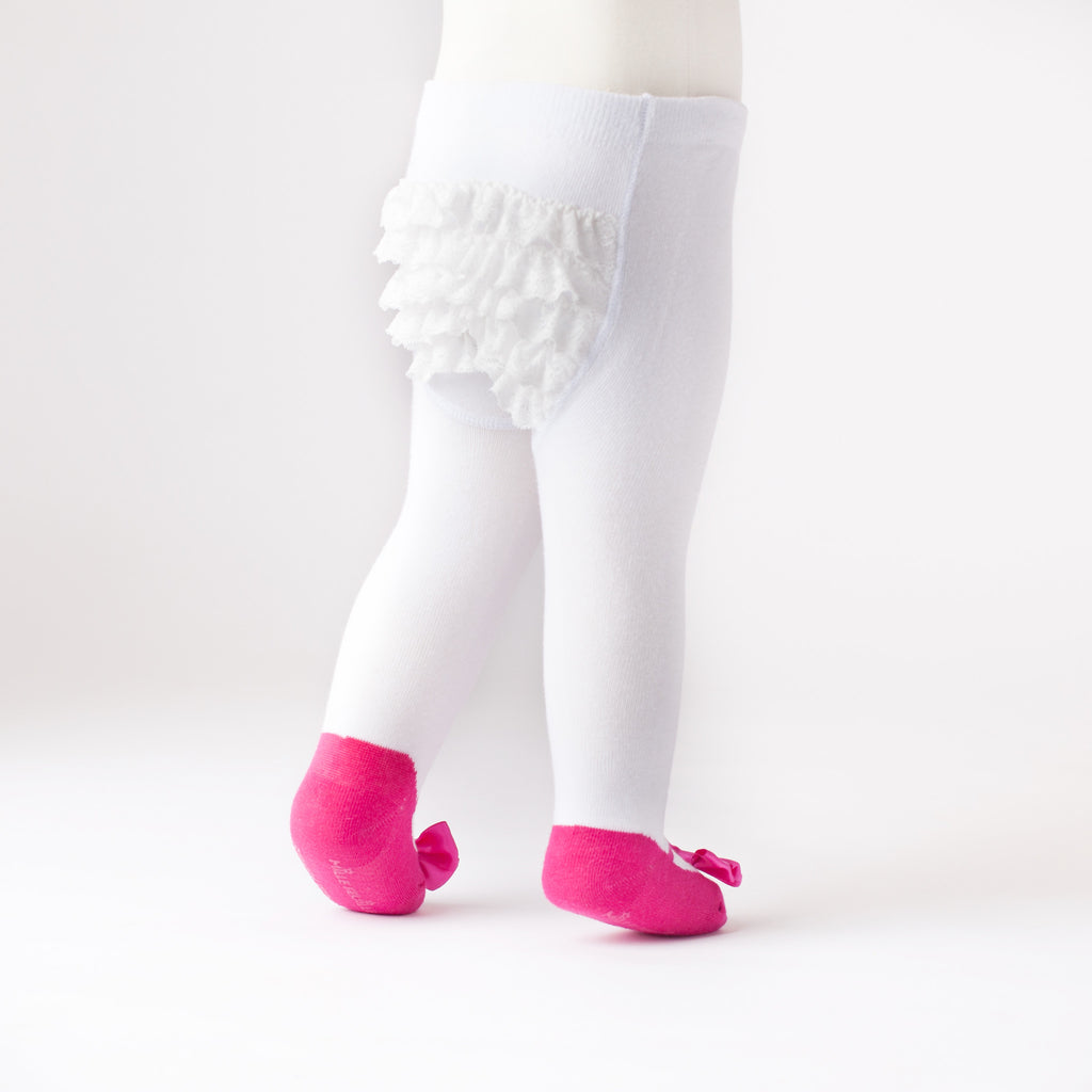 3df34a906360 Ruffle Butt Baby tights with shoes and bow